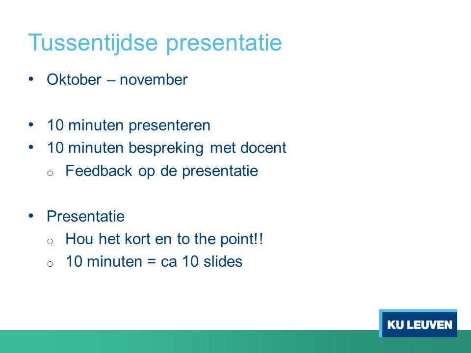 Tussentijdse presentatie