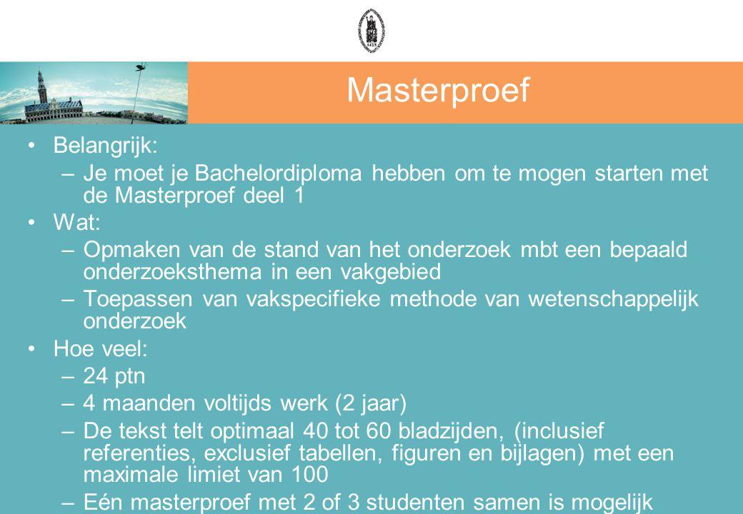 Masterproef Belangrijk: