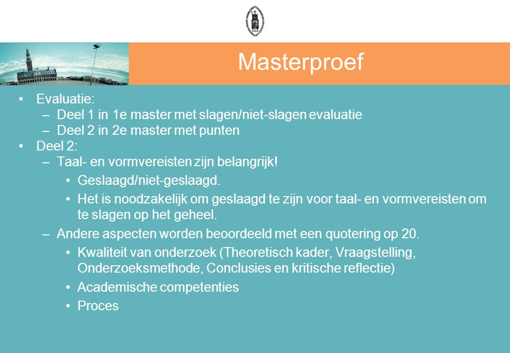 Masterproef Evaluatie: