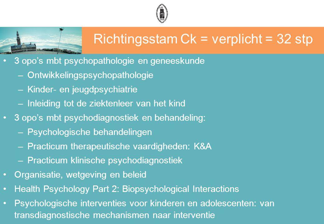Richtingsstam Ck = verplicht = 32 stp