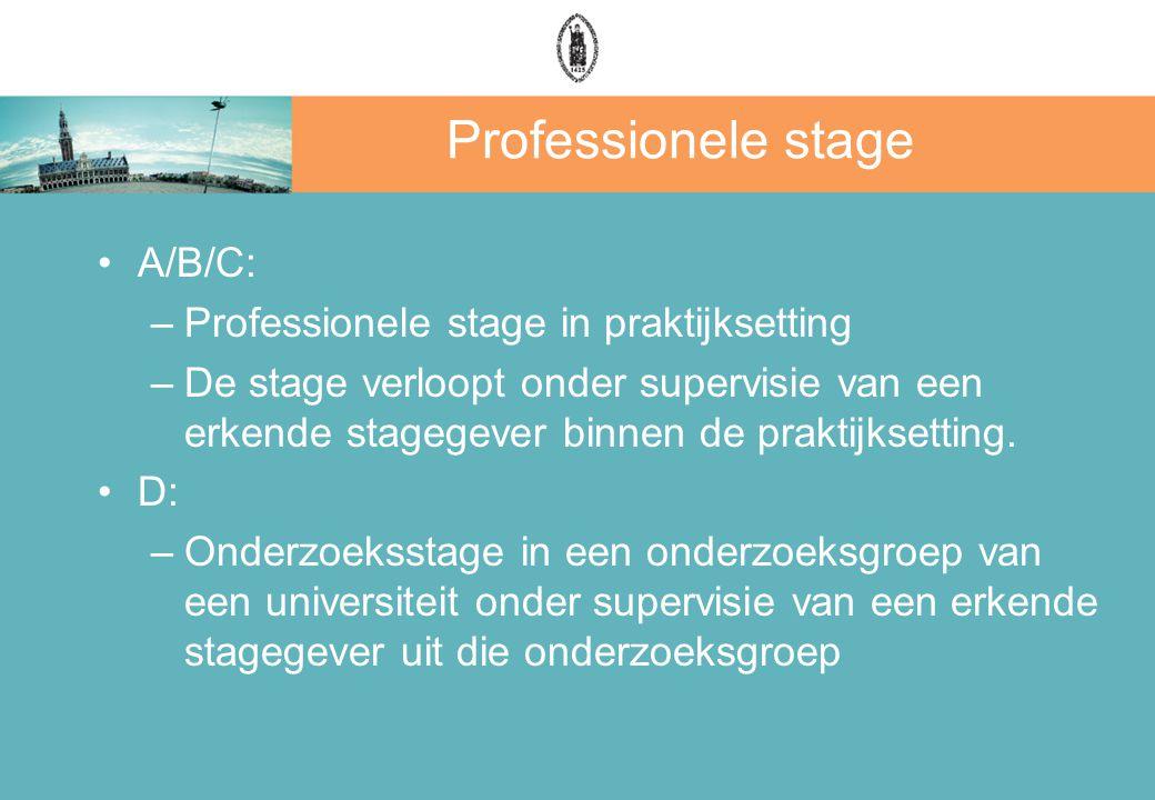 Professionele stage A/B/C: Professionele stage in praktijksetting