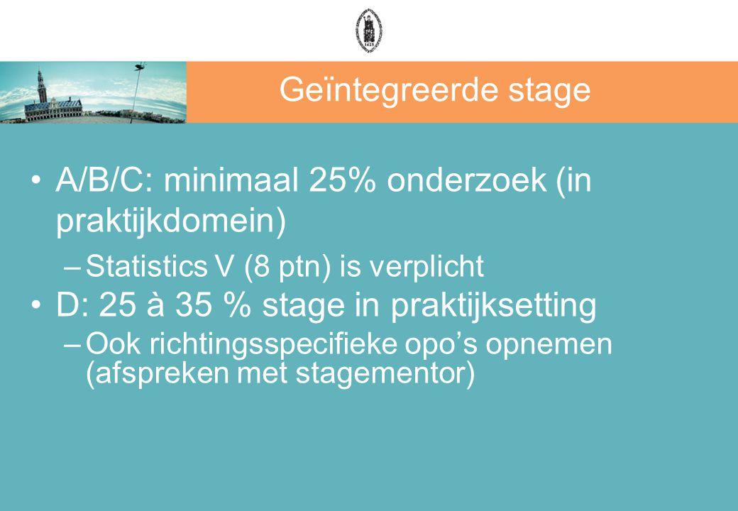A/B/C: minimaal 25% onderzoek (in praktijkdomein)