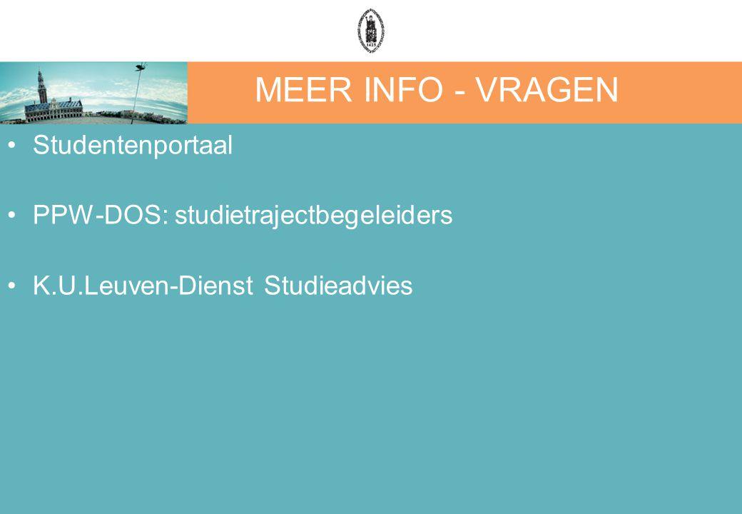 MEER INFO - VRAGEN Studentenportaal PPW-DOS: studietrajectbegeleiders