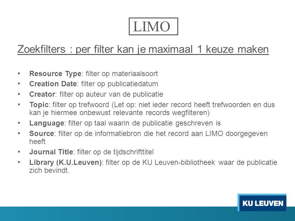 LIMO Zoekfilters : per filter kan je maximaal 1 keuze maken
