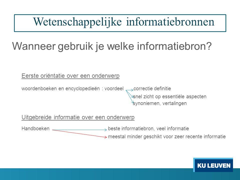 Wetenschappelijke informatiebronnen