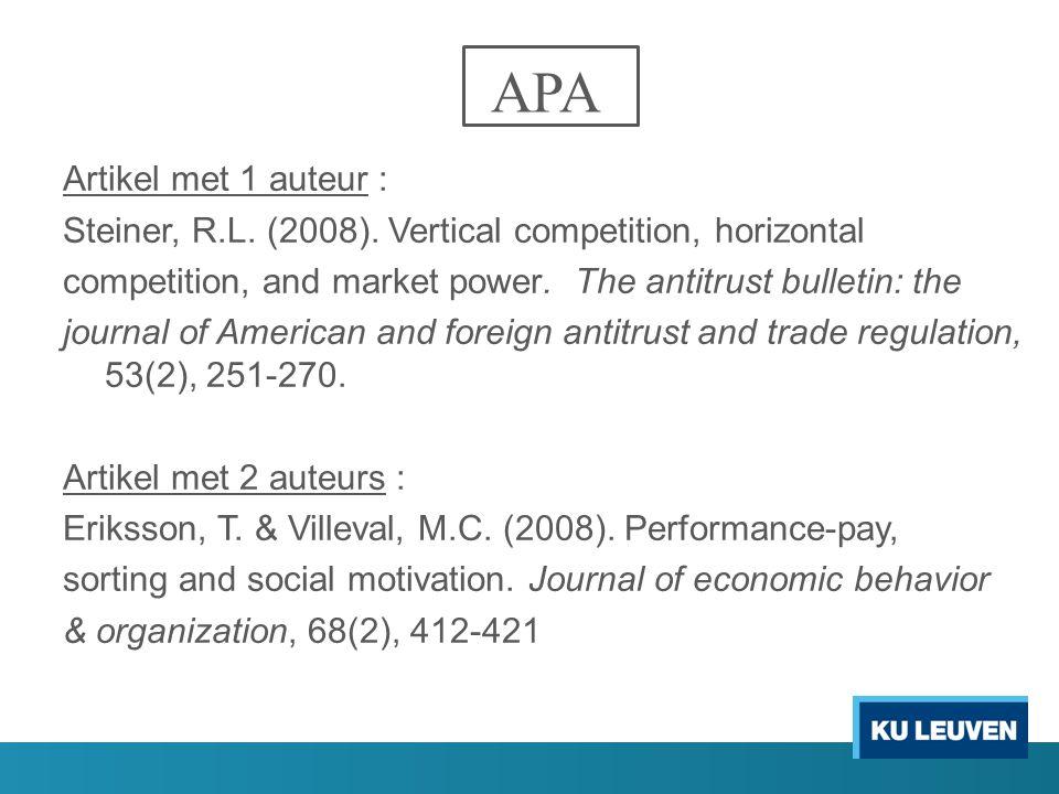 APA Artikel met 1 auteur :