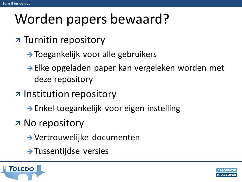 Worden papers bewaard Turnitin repository Institution repository