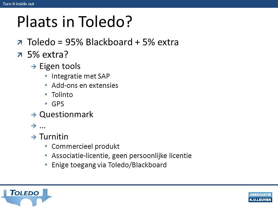 Plaats in Toledo Toledo = 95% Blackboard + 5% extra 5% extra