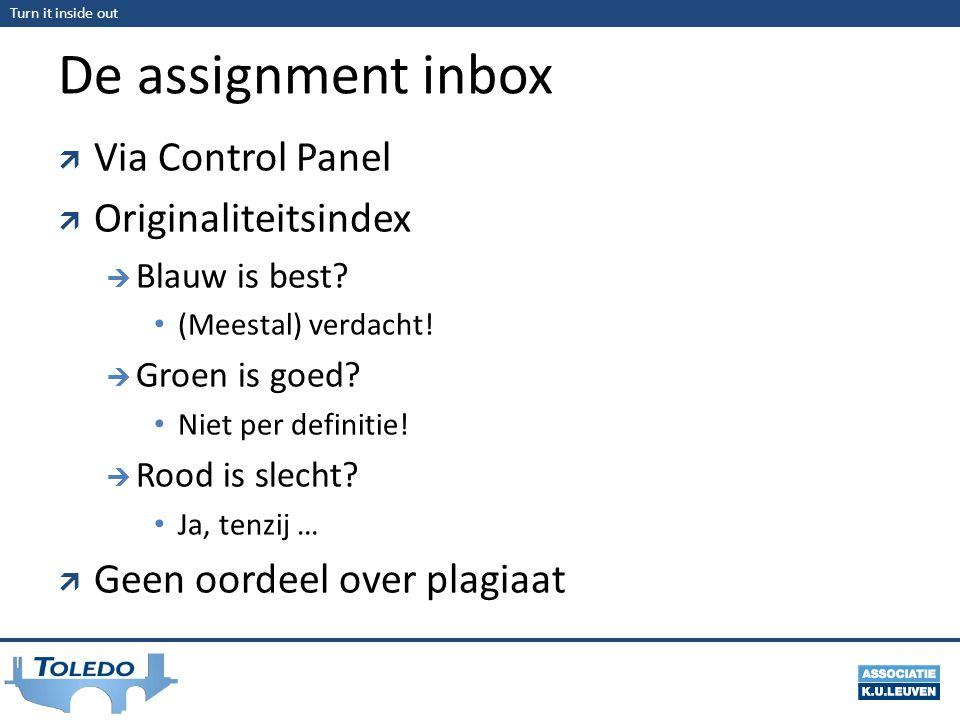 De assignment inbox Via Control Panel Originaliteitsindex