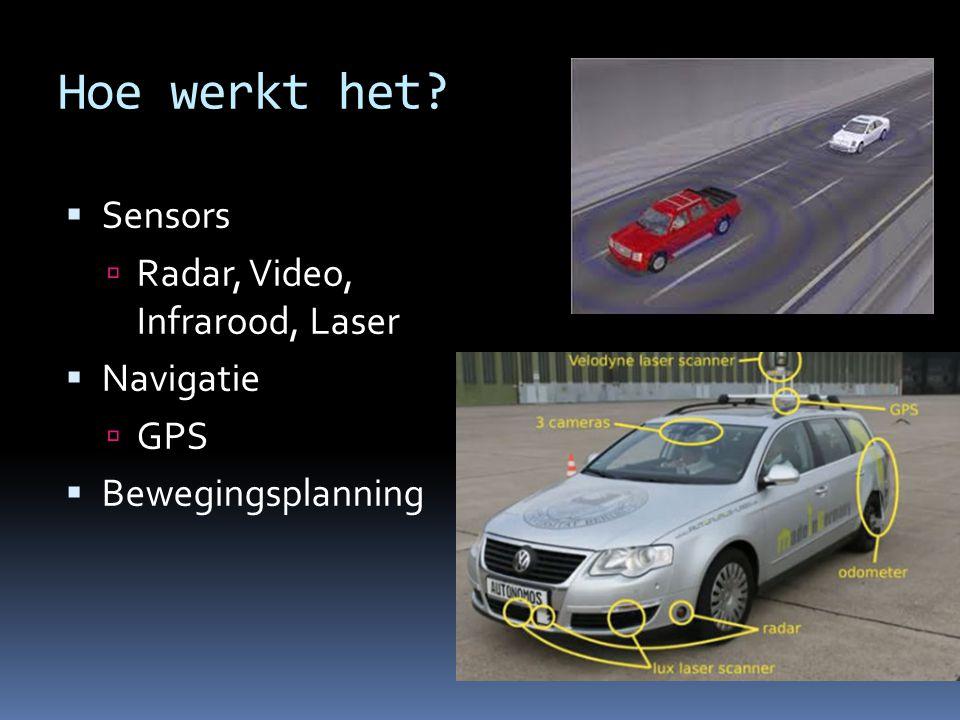 Hoe werkt het Sensors Radar, Video, Infrarood, Laser Navigatie GPS