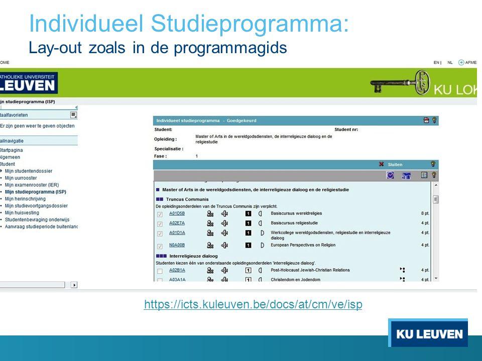 Individueel Studieprogramma: Lay-out zoals in de programmagids