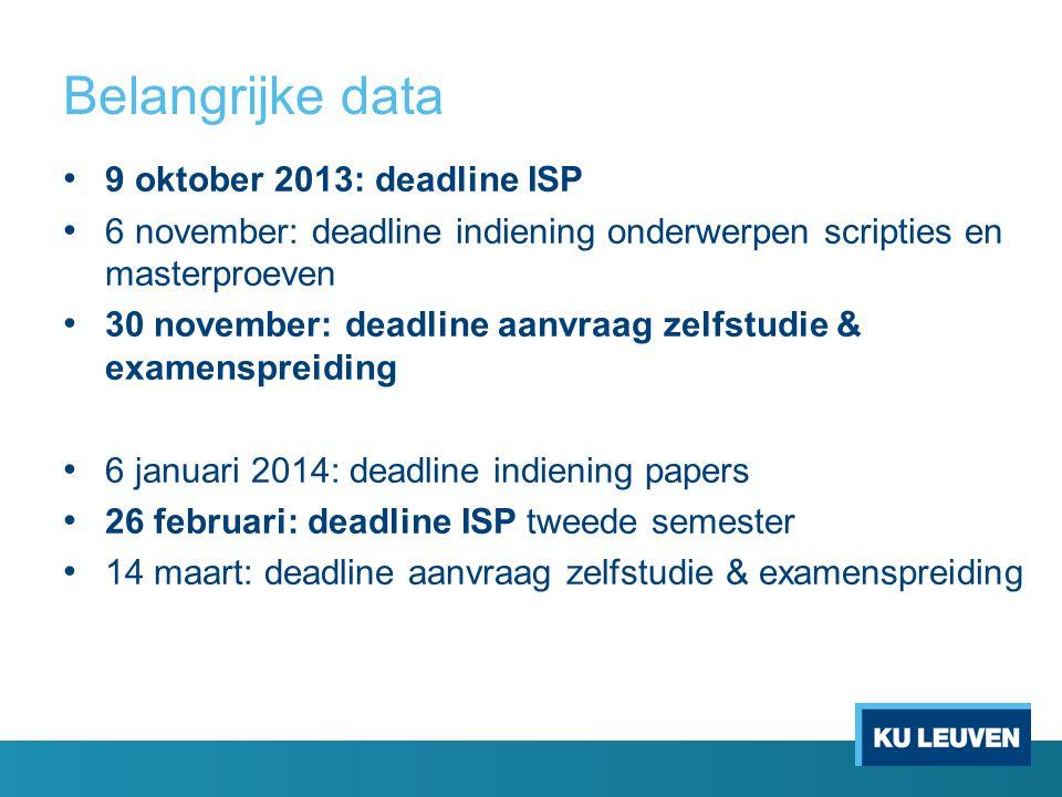 Belangrijke data 9 oktober 2013: deadline ISP