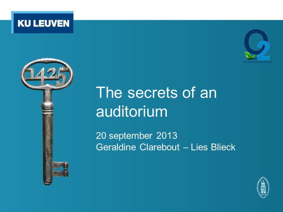 The secrets of an auditorium