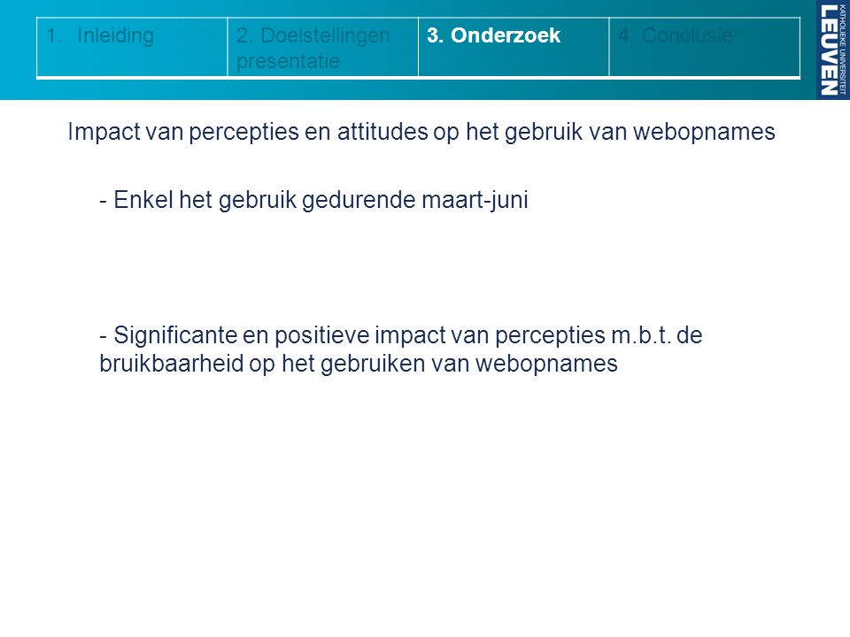 Inleiding 2. Doelstellingen presentatie. 3. Onderzoek. 4. Conclusie.