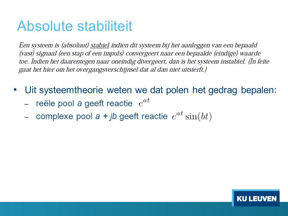 Absolute stabiliteit Uit systeemtheorie weten we dat polen het gedrag bepalen: reële pool a geeft reactie.