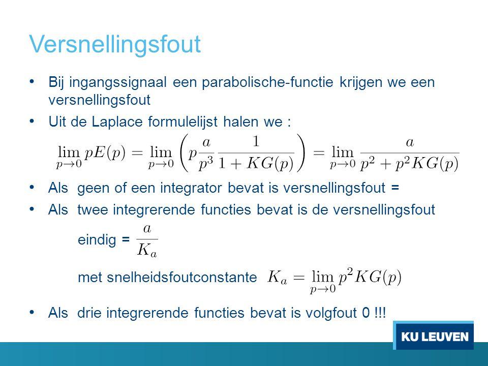 Versnellingsfout Bij ingangssignaal een parabolische-functie krijgen we een versnellingsfout. Uit de Laplace formulelijst halen we :