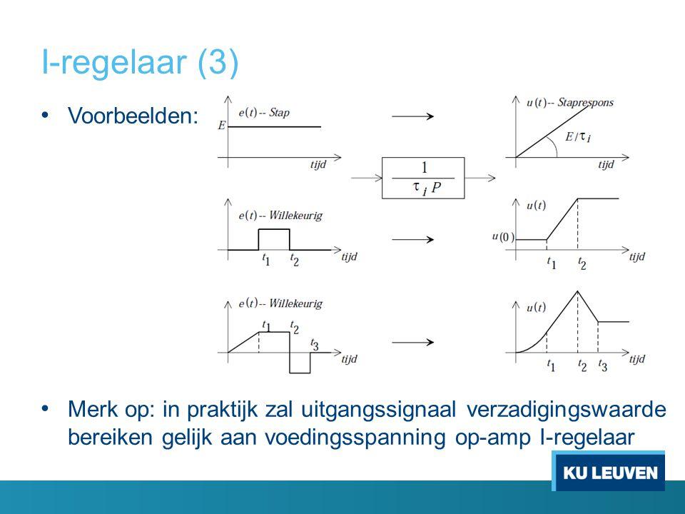 I-regelaar (3) Voorbeelden: