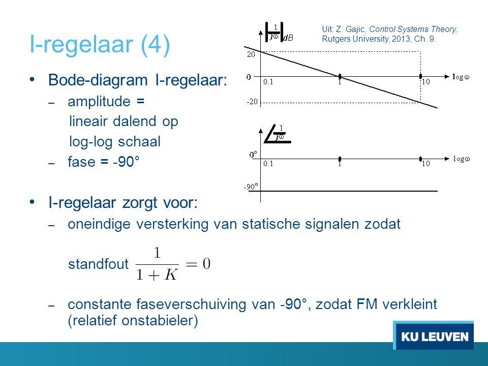 I-regelaar (4) Bode-diagram I-regelaar: I-regelaar zorgt voor: