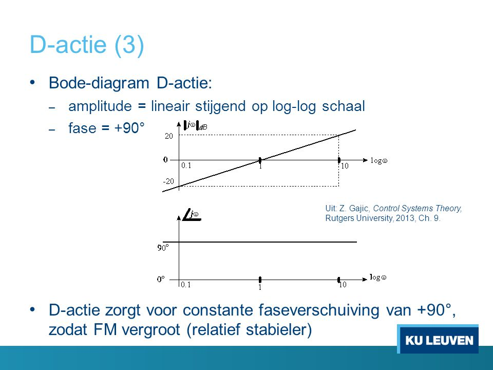 D-actie (3) Bode-diagram D-actie: