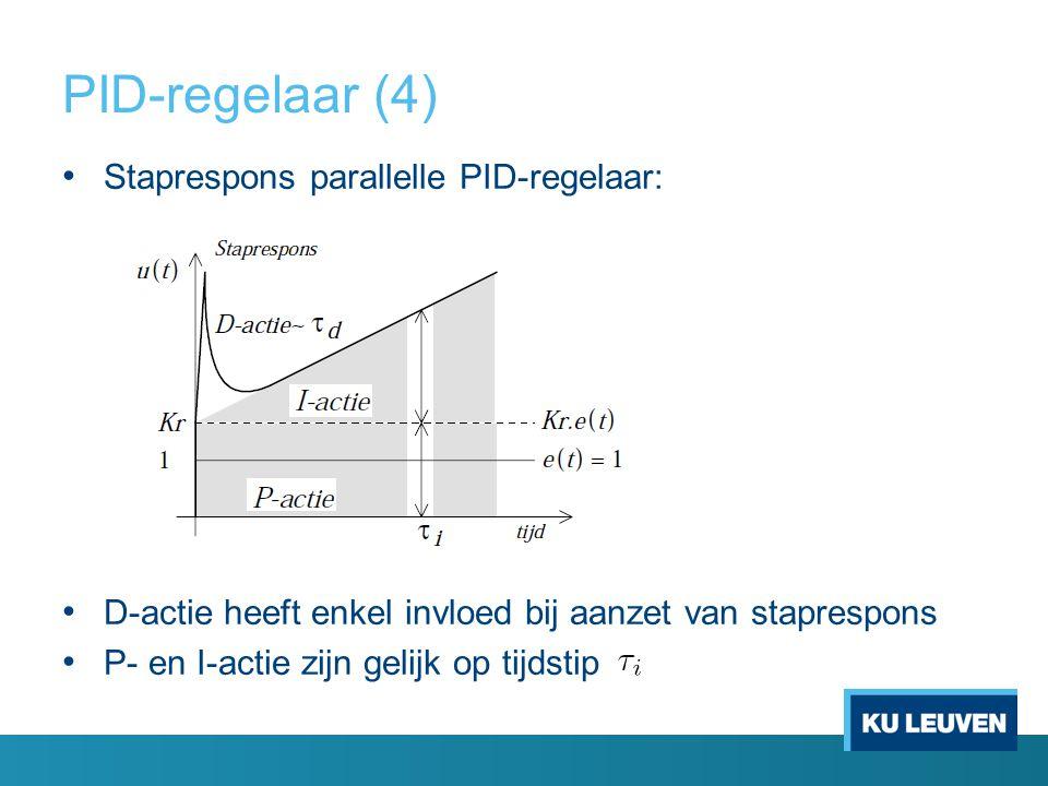 PID-regelaar (4) Staprespons parallelle PID-regelaar: