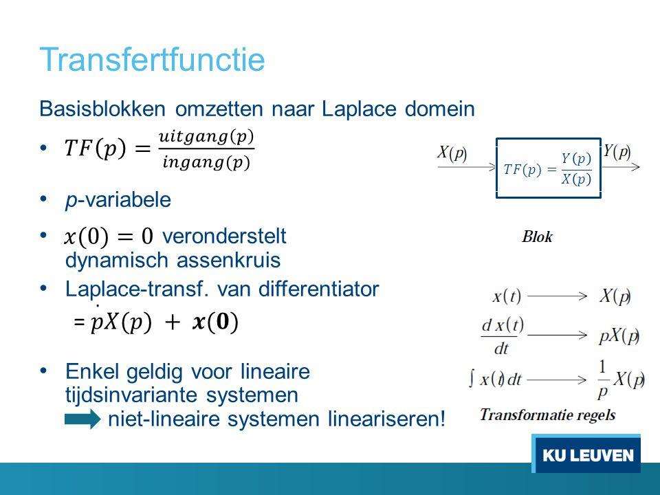 Transfertfunctie Basisblokken omzetten naar Laplace domein p-variabele