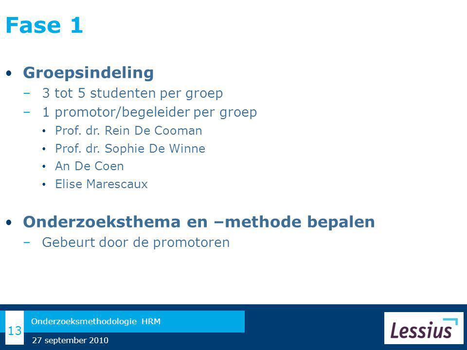Fase 1 Groepsindeling Onderzoeksthema en –methode bepalen