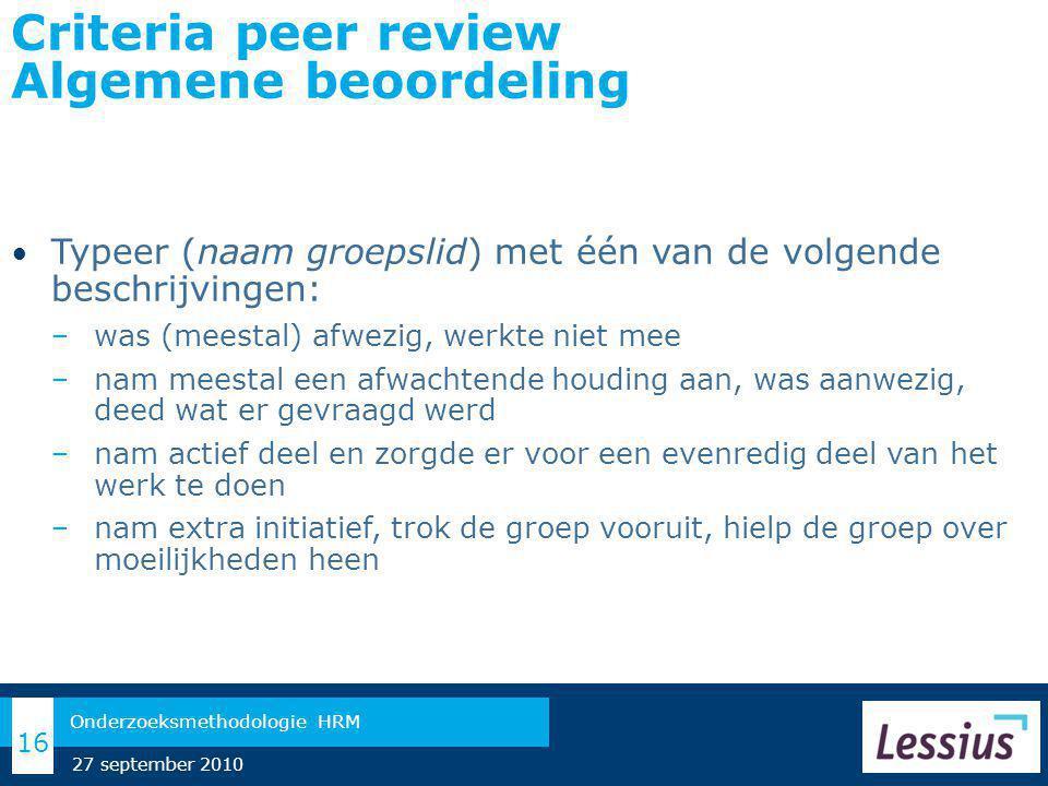 Criteria peer review Algemene beoordeling