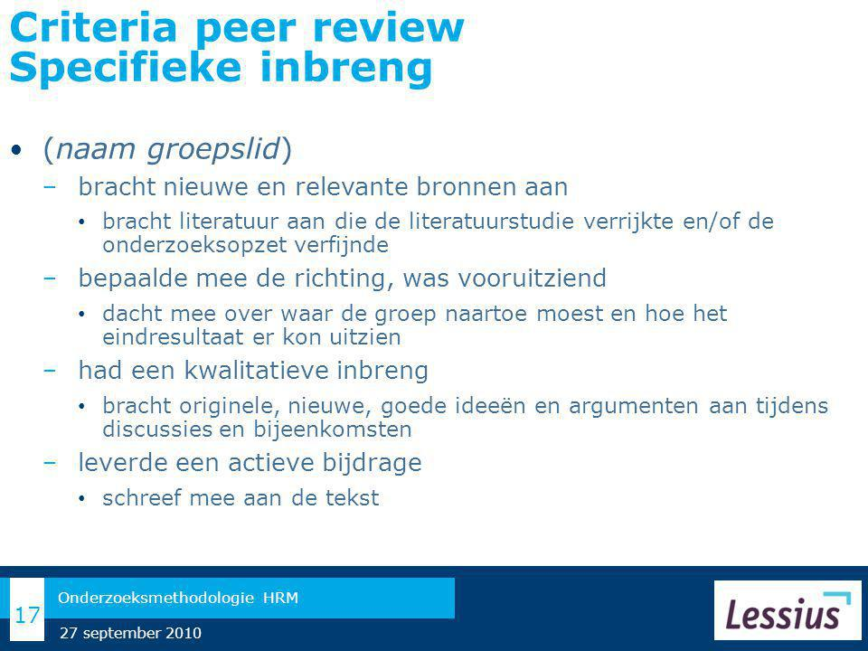 Criteria peer review Specifieke inbreng