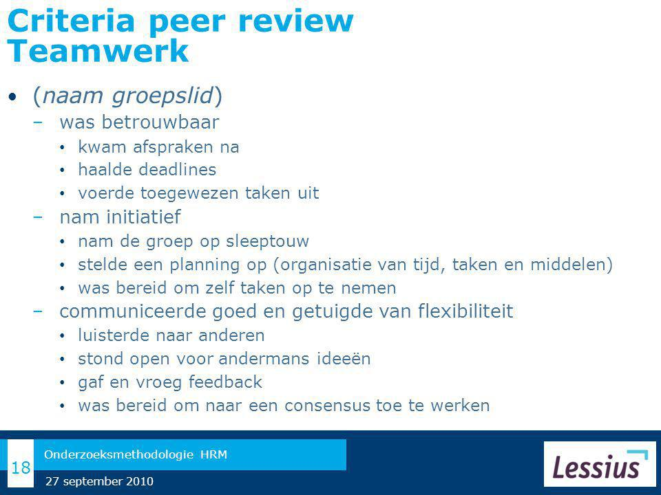 Criteria peer review Teamwerk