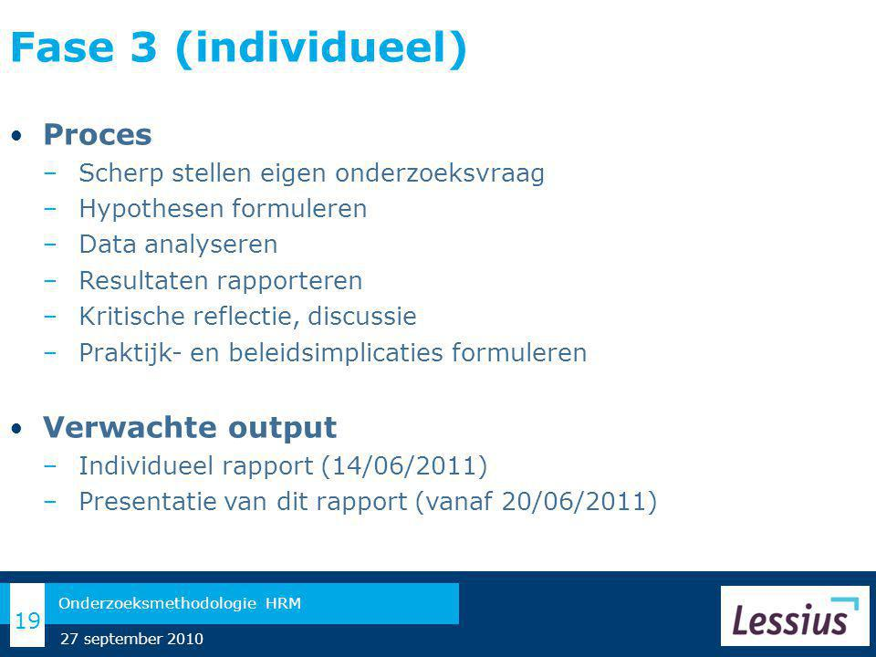 Fase 3 (individueel) Proces Verwachte output