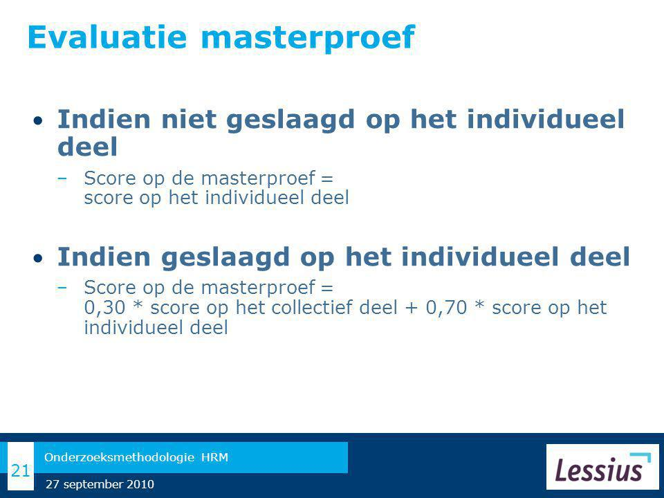 Evaluatie masterproef