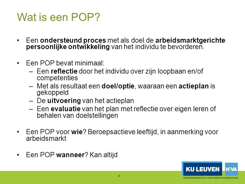 Wat is een POP Een ondersteund proces met als doel de arbeidsmarktgerichte persoonlijke ontwikkeling van het individu te bevorderen.