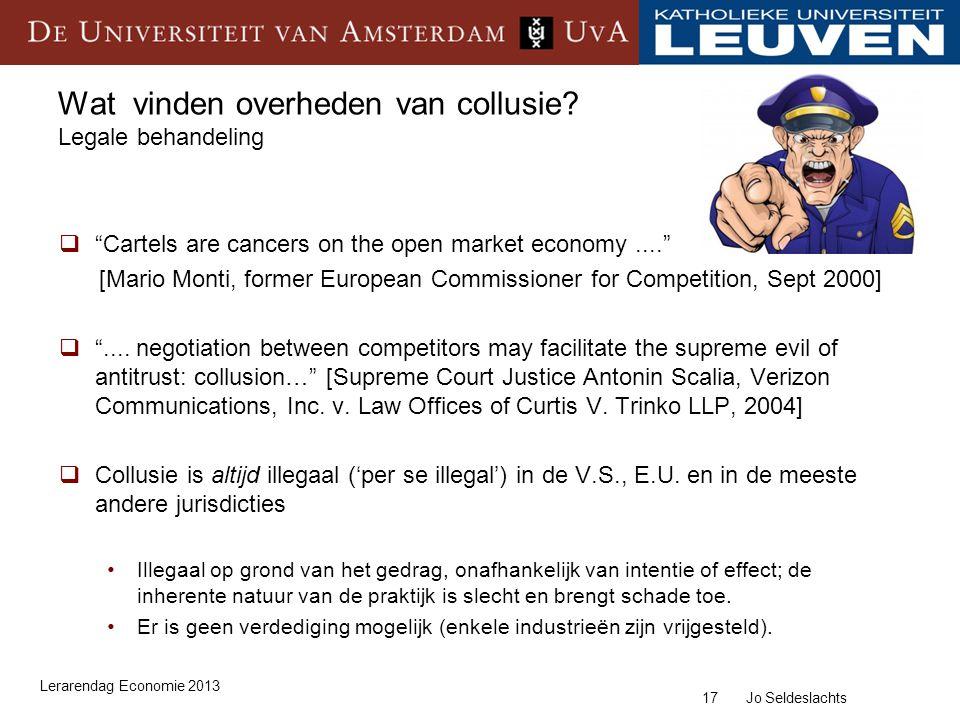Wat vinden overheden van collusie Legale behandeling