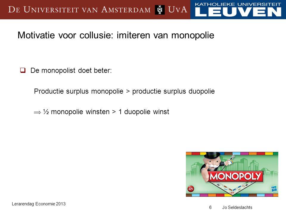 Motivatie voor collusie: imiteren van monopolie