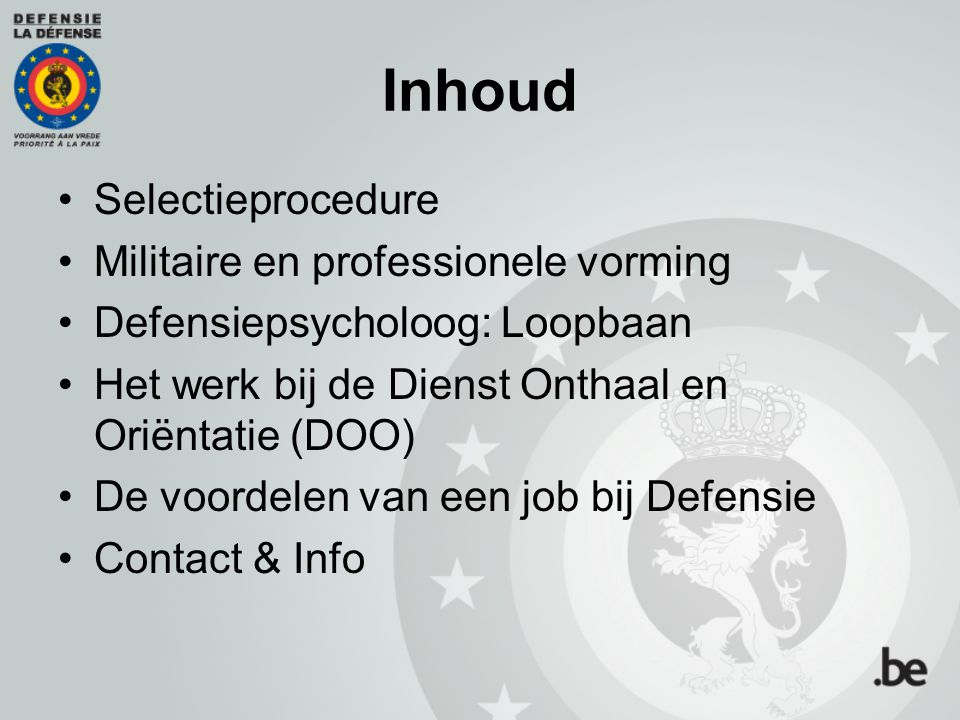 Inhoud Selectieprocedure Militaire en professionele vorming