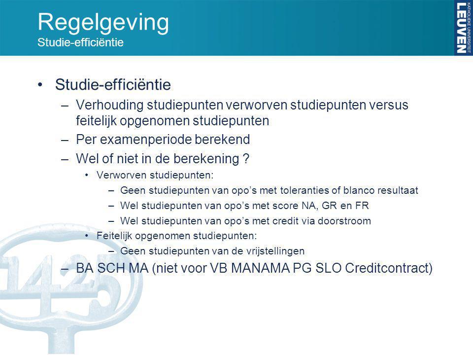 Regelgeving Studie-efficiëntie