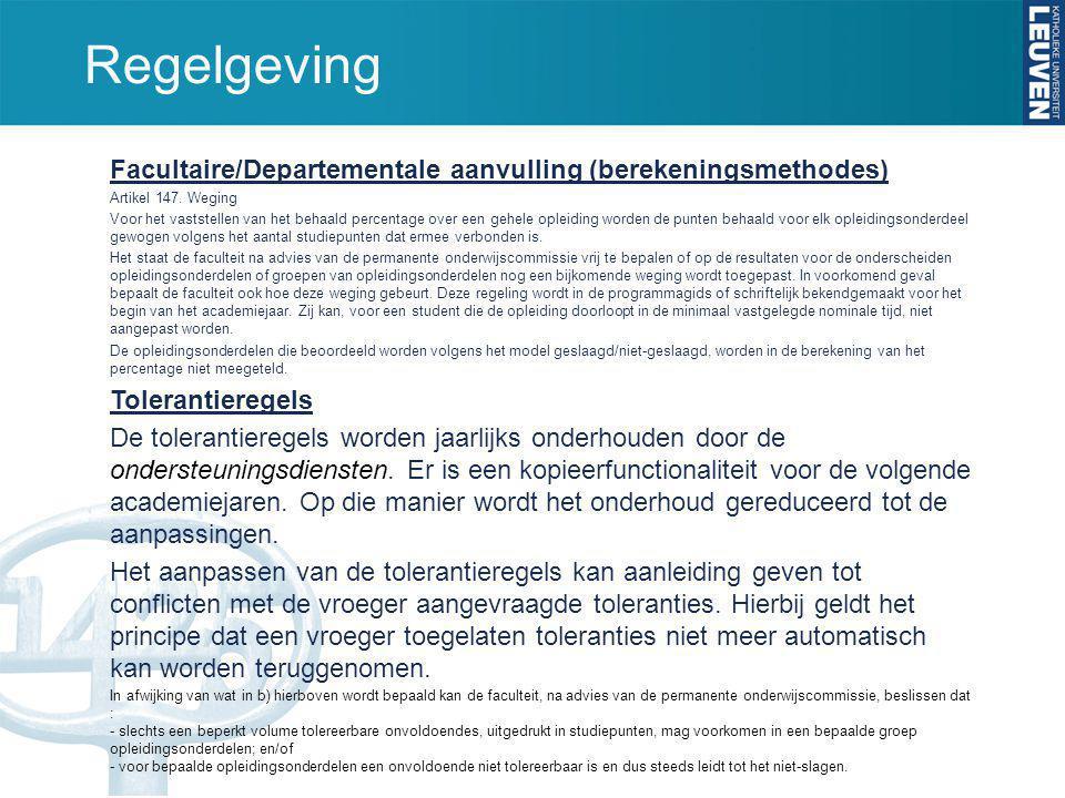 Regelgeving Facultaire/Departementale aanvulling (berekeningsmethodes)