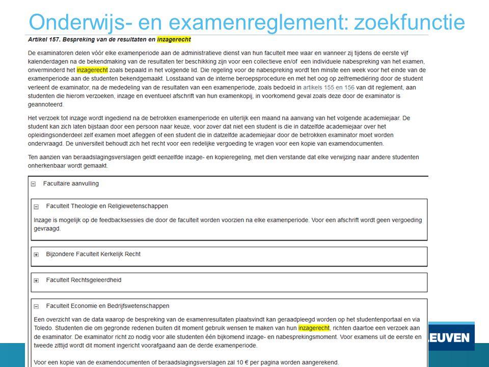 Onderwijs- en examenreglement: zoekfunctie