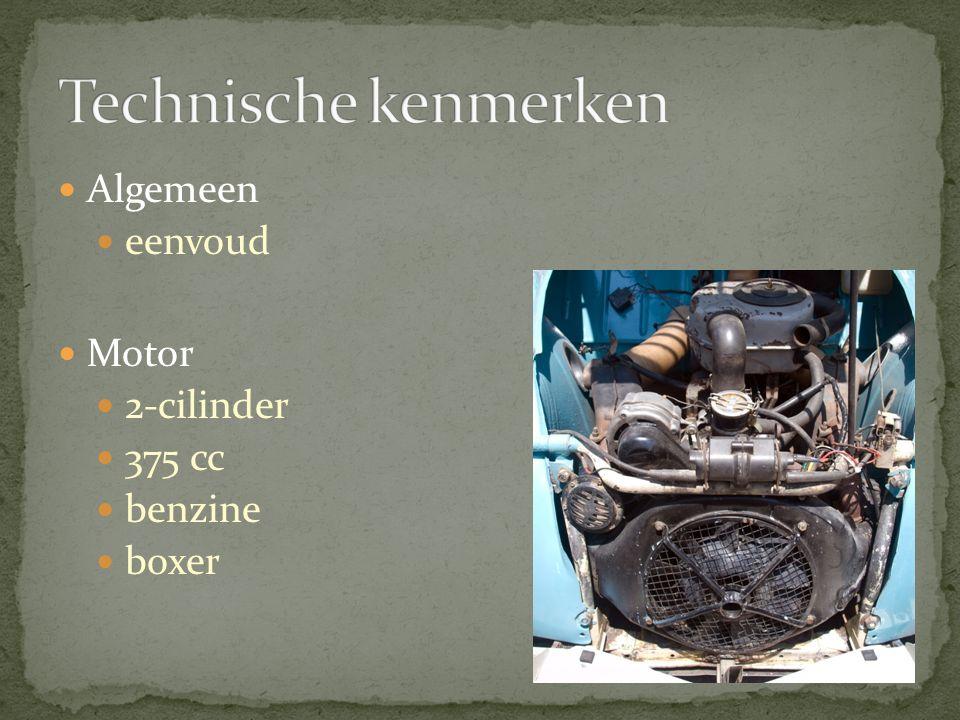 Technische kenmerken Algemeen eenvoud Motor 2-cilinder 375 cc benzine