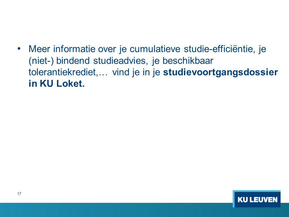 Meer informatie over je cumulatieve studie-efficiëntie, je (niet-) bindend studieadvies, je beschikbaar tolerantiekrediet,… vind je in je studievoortgangsdossier in KU Loket.