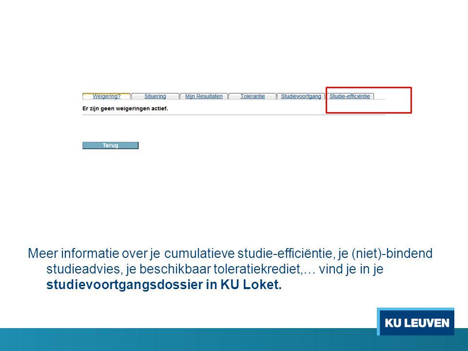 Meer informatie over je cumulatieve studie-efficiëntie, je (niet)-bindend studieadvies, je beschikbaar toleratiekrediet,… vind je in je studievoortgangsdossier in KU Loket.
