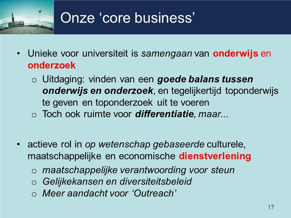 Onze 'core business' Unieke voor universiteit is samengaan van onderwijs en onderzoek.