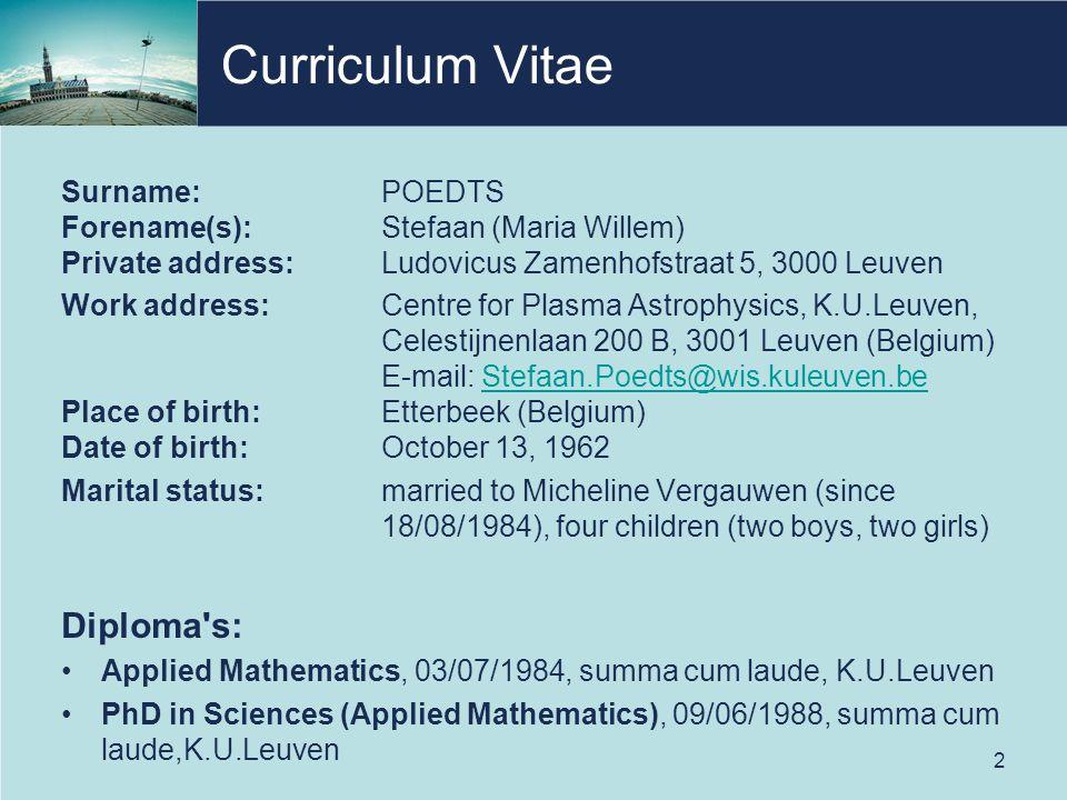 Curriculum Vitae Diploma s: