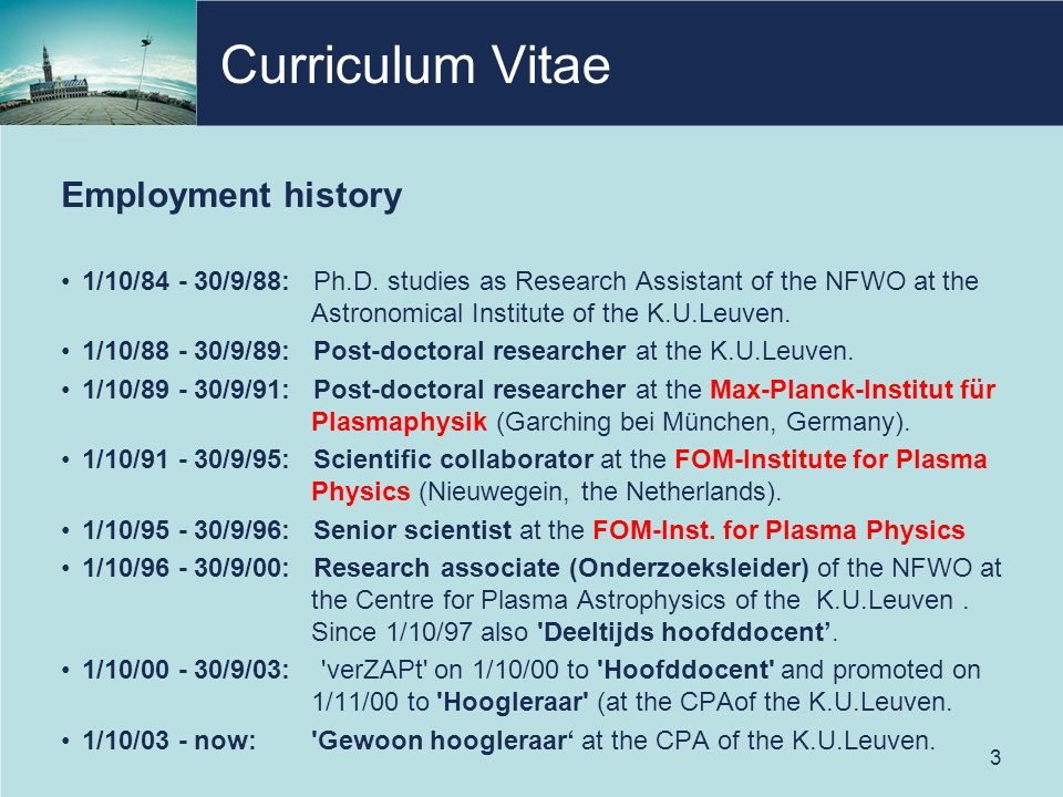 Curriculum Vitae Employment history