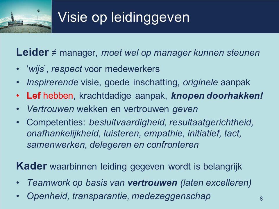 Visie op leidinggeven Leider ≠ manager, moet wel op manager kunnen steunen. 'wijs', respect voor medewerkers.