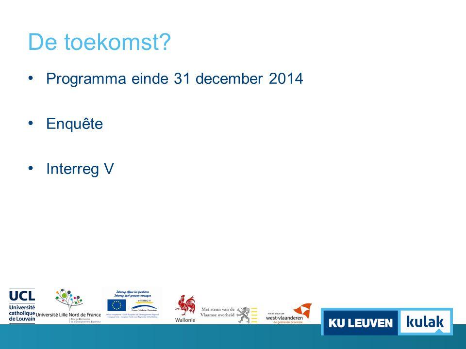 De toekomst Programma einde 31 december 2014 Enquête Interreg V