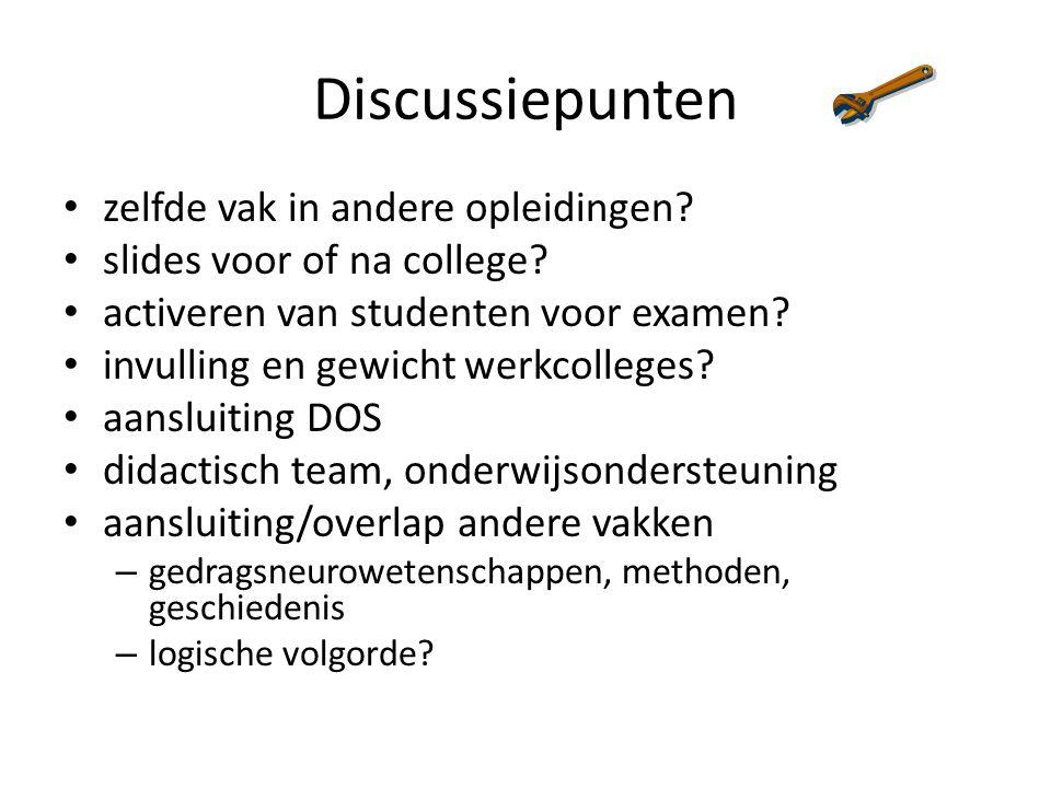 Discussiepunten zelfde vak in andere opleidingen
