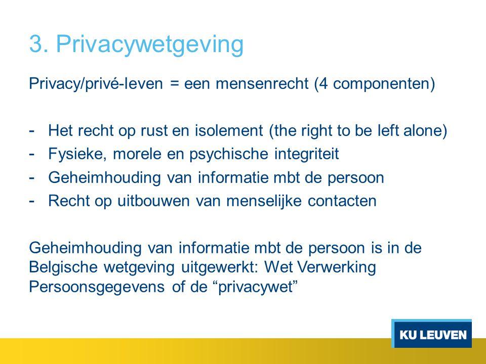 3. Privacywetgeving Privacy/privé-leven = een mensenrecht (4 componenten) Het recht op rust en isolement (the right to be left alone)