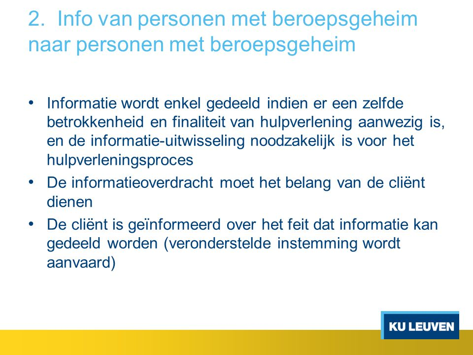 2. Info van personen met beroepsgeheim naar personen met beroepsgeheim