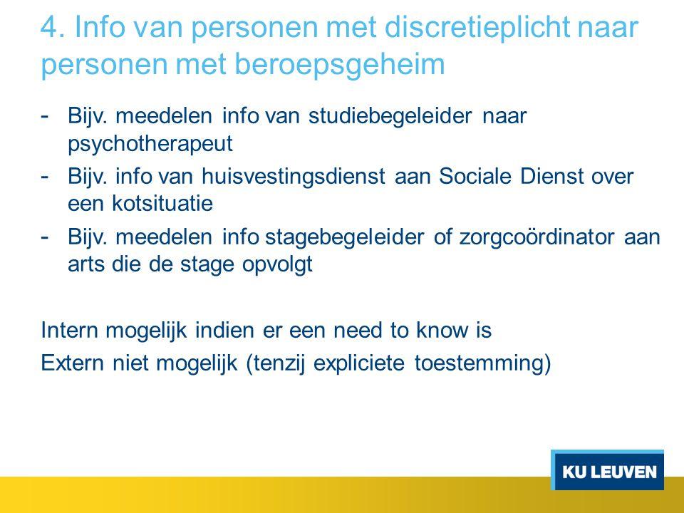 4. Info van personen met discretieplicht naar personen met beroepsgeheim